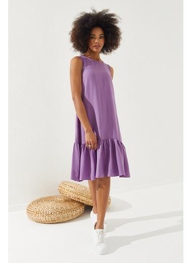 Reyon  Kadın Eteği Fırfırlı Sıfır Kol Elbise Nar Çiçeği Lila